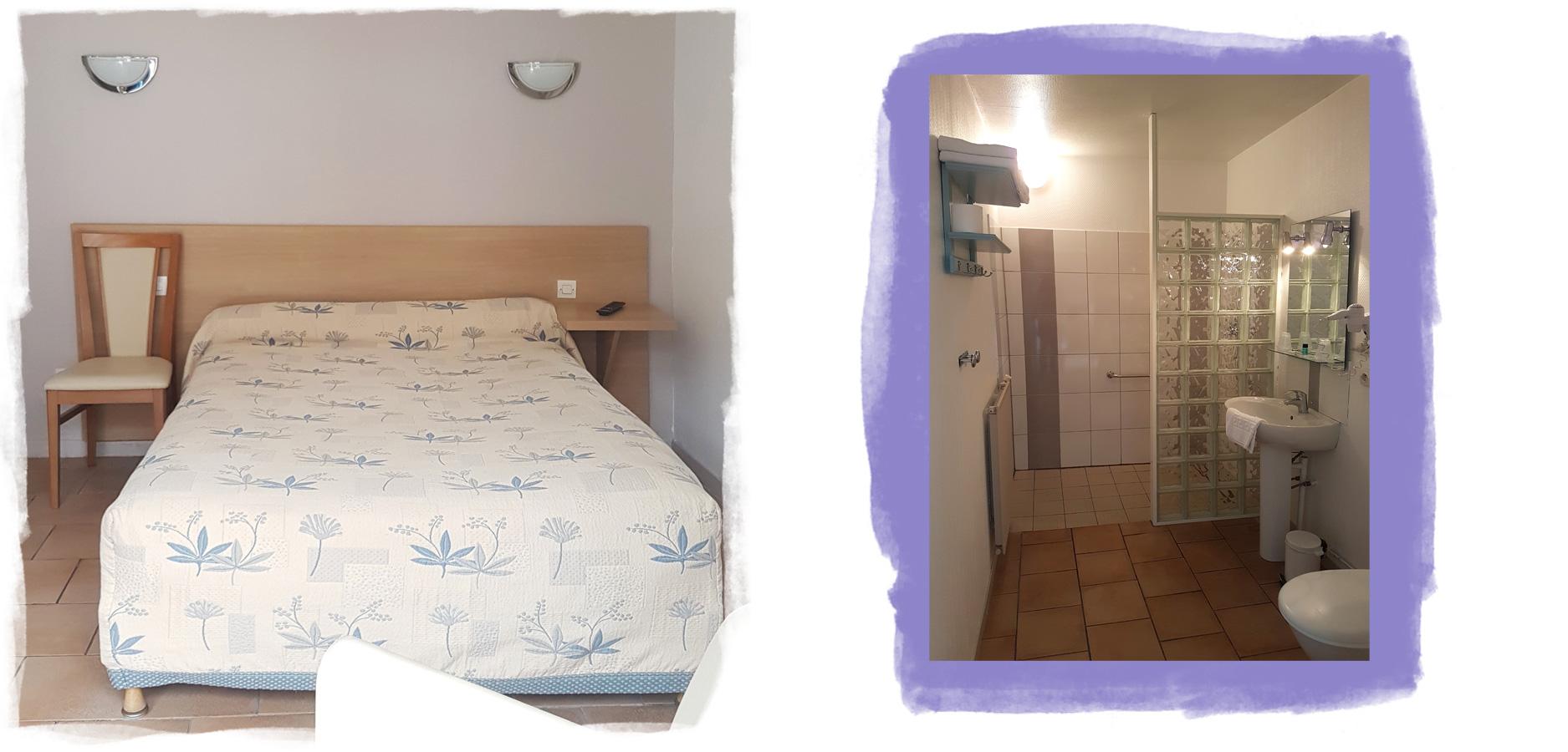 Détails d'une chambre pour quatre personnes de plein-pied avec douche