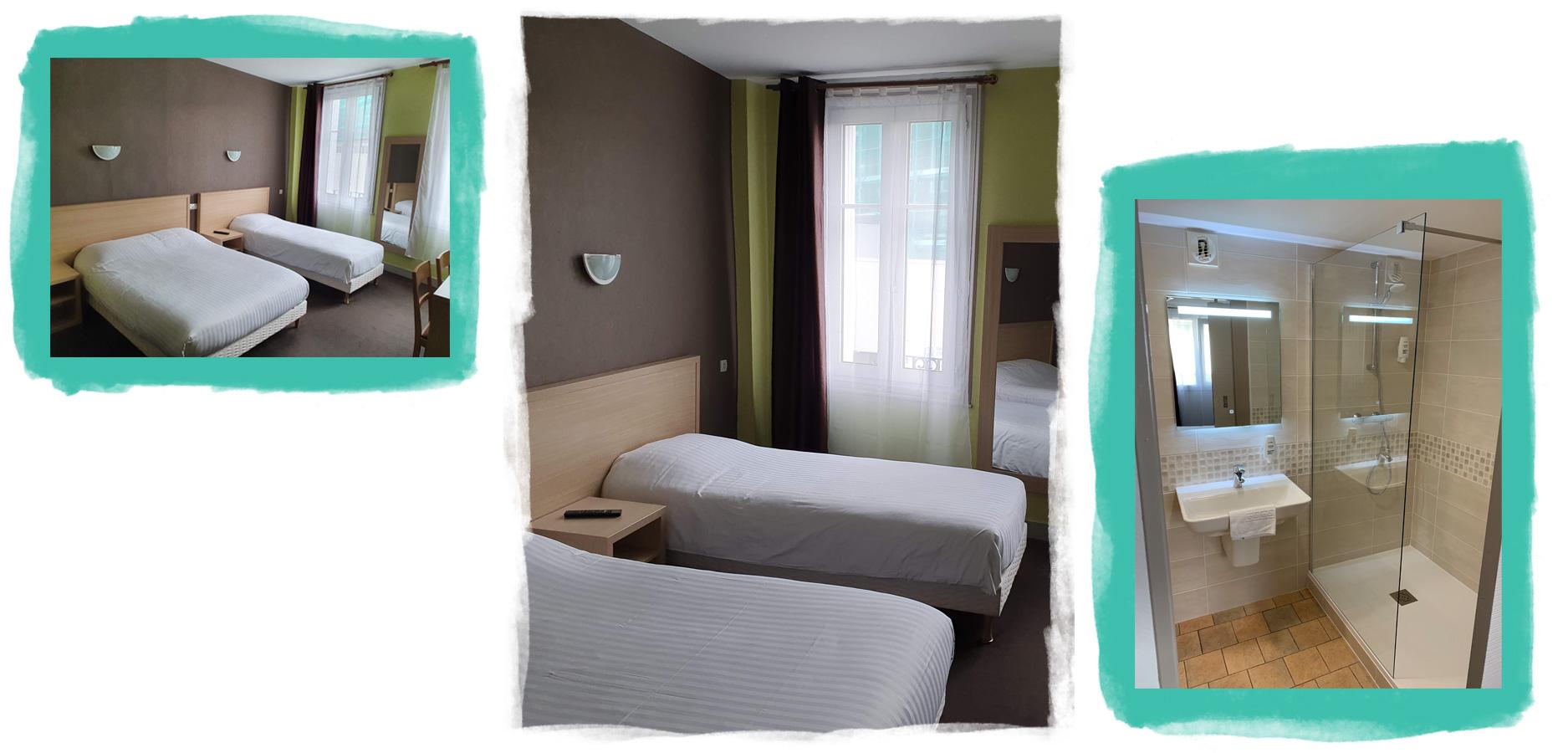 Vue d'une chambre chaleureuse avec un grand lit pour deux et un lit pour une personne