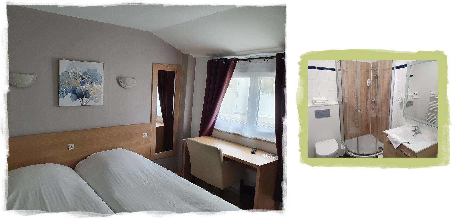 Chambre avec bureau et salle de bain avec une douche